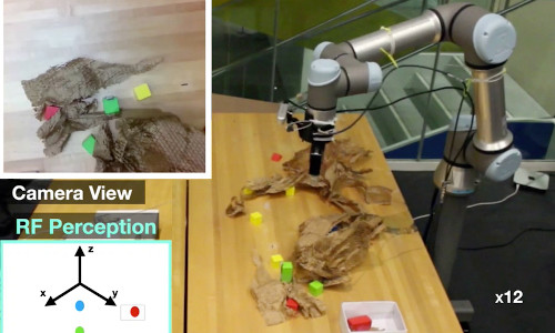 A picking robot that combines vision with radio frequency (RF) sensing to find and grasps objects, even if they're hidden from view.